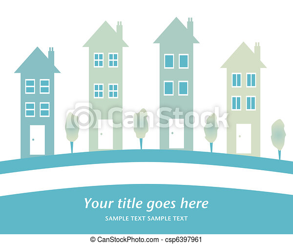 Row of tall houses design. - csp6397961