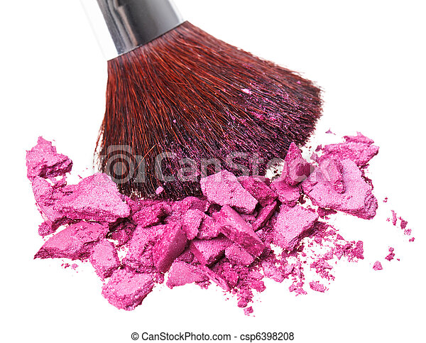 Makeup brush with purple crushed eye shadow, isolated on white macro - csp6398208