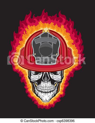 Firefighter Helmet and Skull - csp6398396