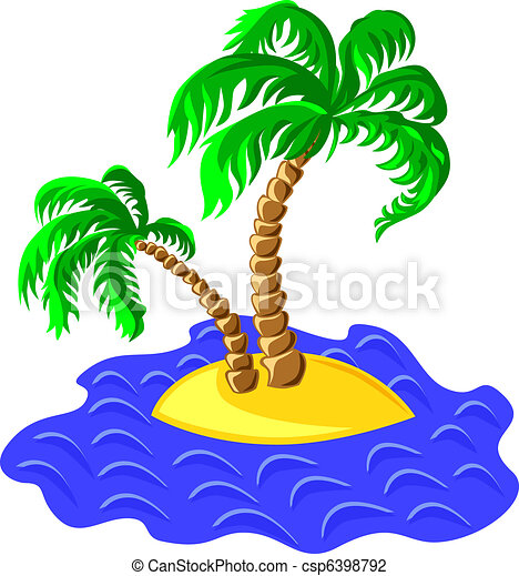 vector two palm trees on an island in the ocean - csp6398792