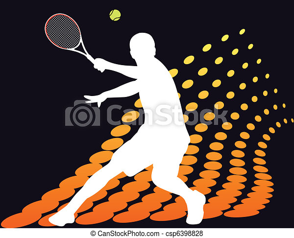 Tennis player on abstract halftone  - csp6398828
