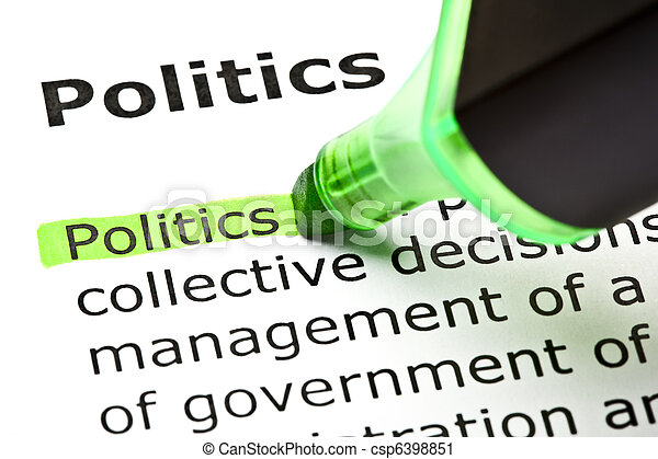 'Politics' highlighted in green - csp6398851
