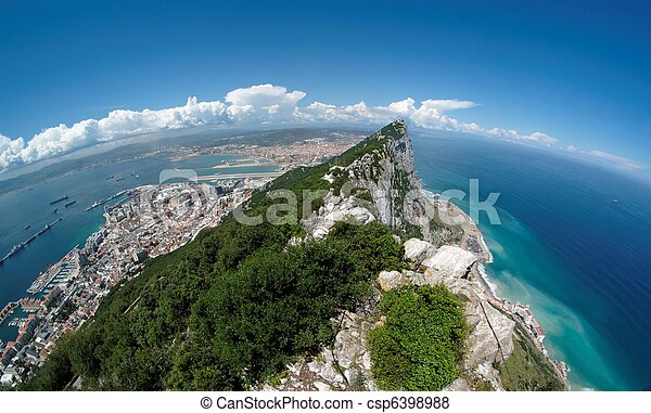 Fisheye view of Gibraltar rock, bay and town from the Upper Rock - csp6398988
