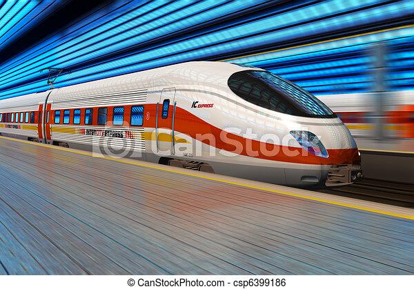 Modern high speed train departs from railway station - csp6399186