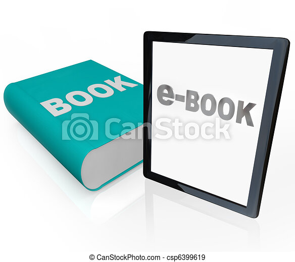 Print Book and e-Book - Traditional vs Modern Reading - csp6399619