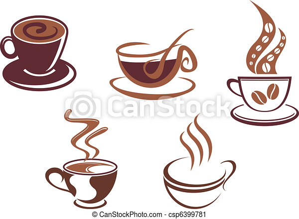 Coffee and tea symbols and icons - csp6399781