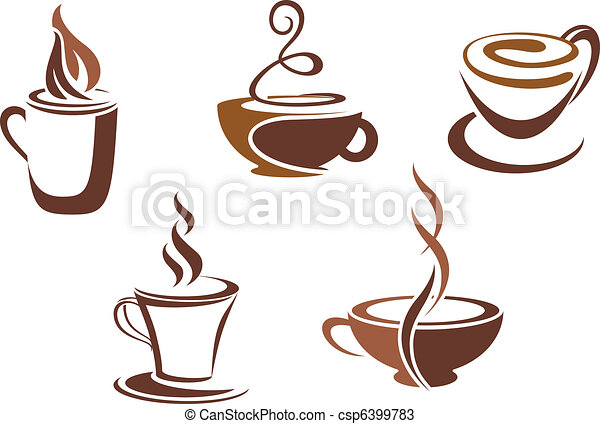 Coffee and tea symbols and icons - csp6399783