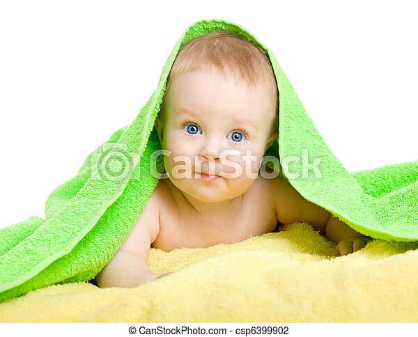 Adorable baby in colorful towel - csp6399902