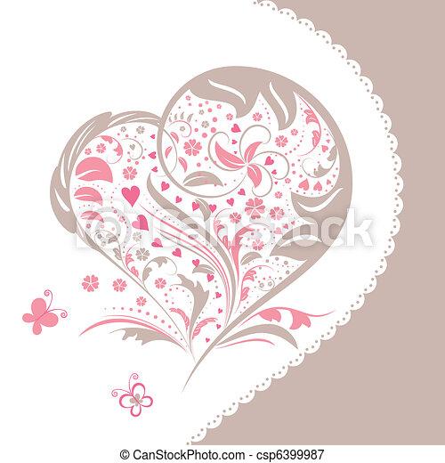 Abstract flower heart shape invitation card - csp6399987