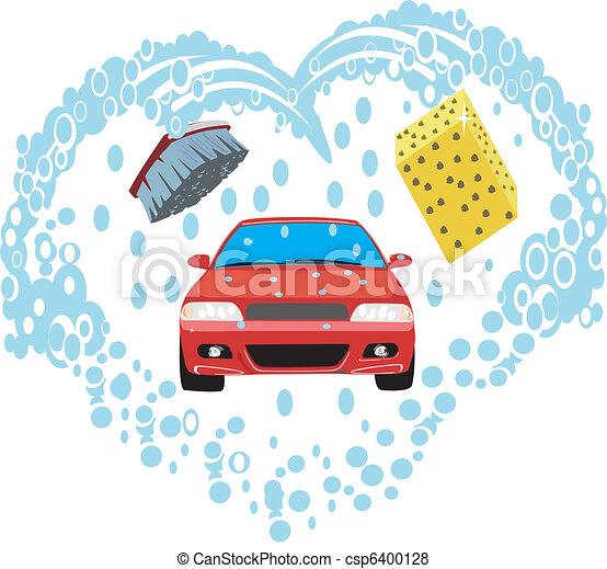 Vecteur de voiture lavage eau brosse et sponge like lavage csp6400128 recherchez - Coloriage car wash ...