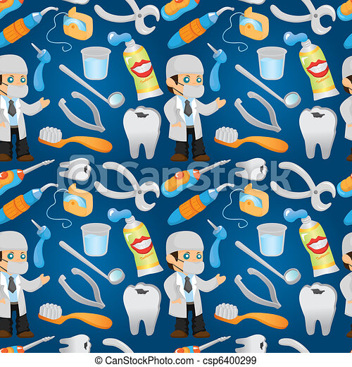 cartoon dentist tool seamless pattern - csp6400299
