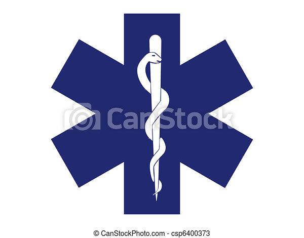 emergency medical symbol blue cross - illustration - csp6400373