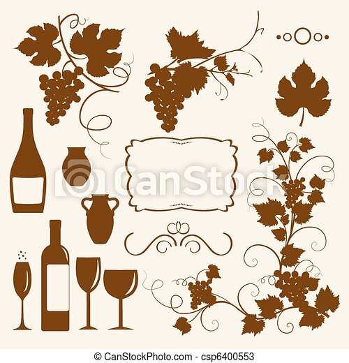 Winery design object silhouettes. - csp6400553
