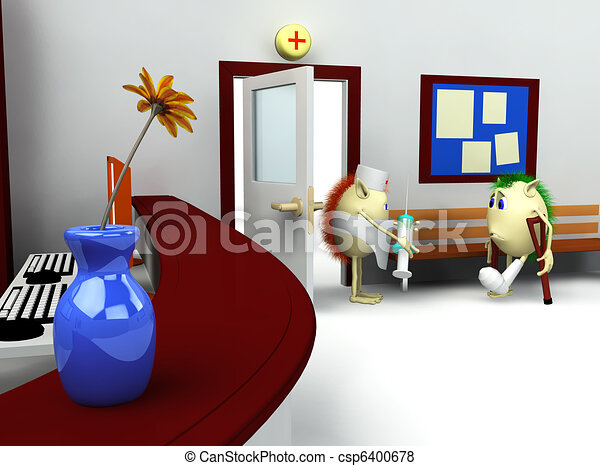 3d of hospital waiting room and registry - csp6400678
