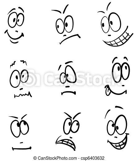 Emotion, set of nine face  - csp6403632