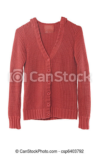 Red sweater isolated on white  - csp6403792