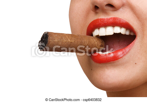 mouth with red lips biting a cigar - csp6403832