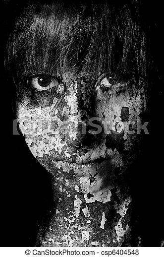 Images De Fissures Vieux Sombre Peinture Noir Portrait Art Csp6404548 Recherchez Des