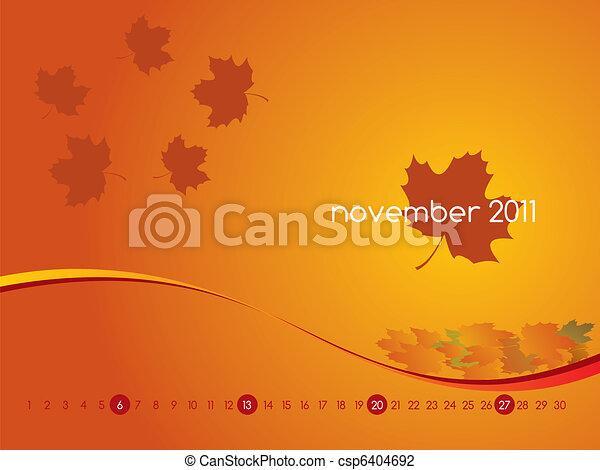 Calendar for November 2011 - csp6404692