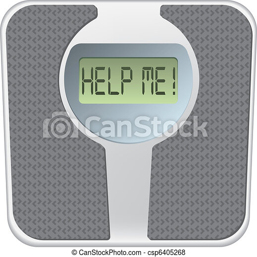 Bathroom scale with the word help me! on the screen - csp6405268