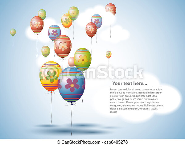 Colorful Easter Egg style Balloons on the Sky - csp6405278