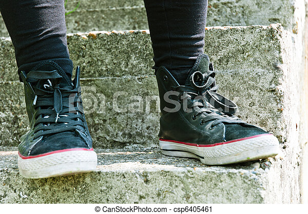 Retro shoes on stairs - csp6405461