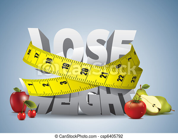 Lose weight text with measure tape - csp6405792