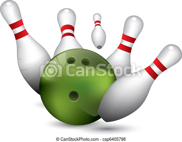 Vector Of Bowling Ball Crashing Into The Pins Csp6405798