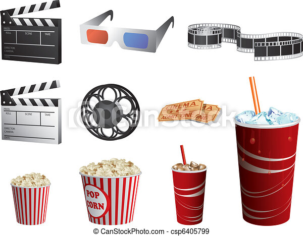 Cinema symbols vector set isolated on white - csp6405799