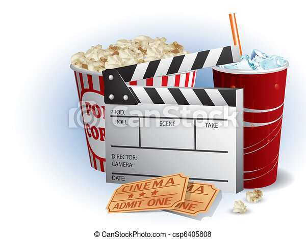 Soda, filmstrip and tickets - csp6405808