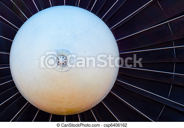 Closeup of a jet turbine engine - csp6406162