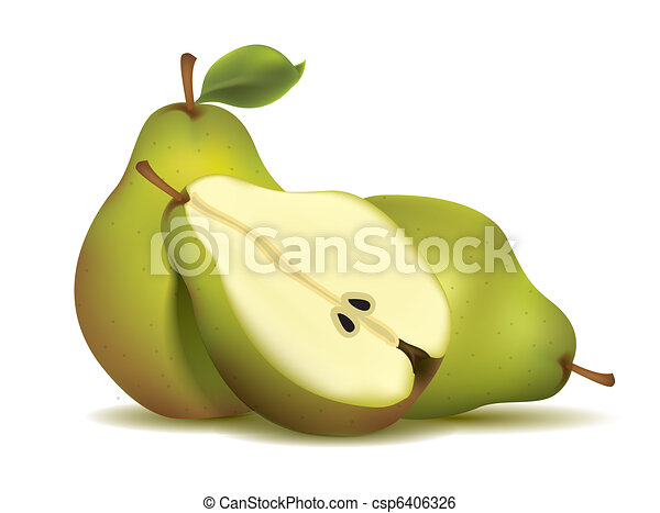 Green sliced pears with leaf - csp6406326