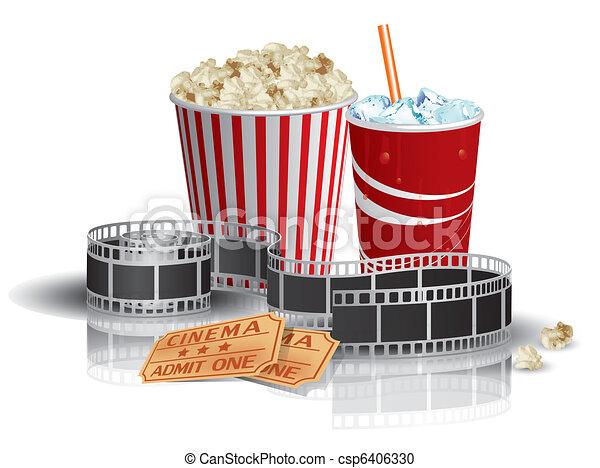 Popcorn, drink, filmstrip, tickets - csp6406330