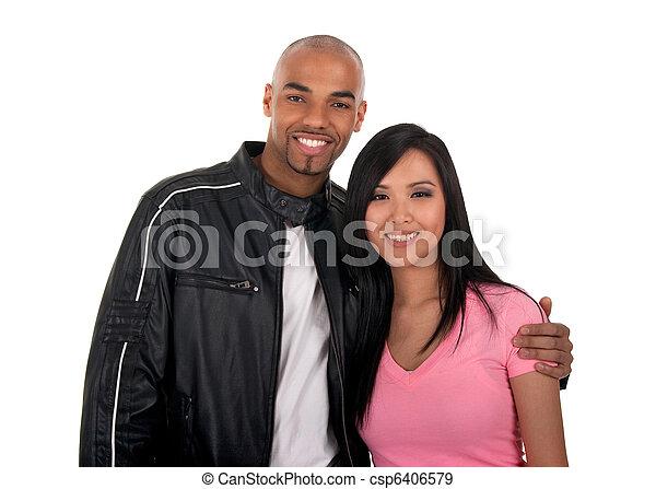 Happy interracial couple - csp6406579