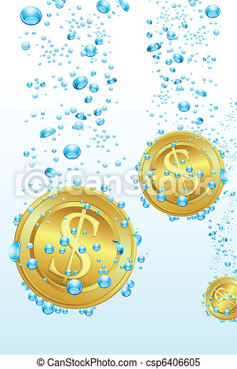 Dollar Coins in Water - csp6406605