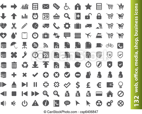 132 web, office, media, buisness icons - csp6406847