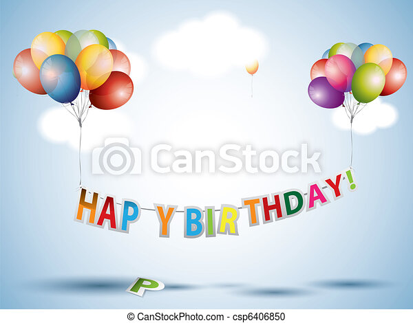 Happy birthday text with Colorful Balloons - csp6406850