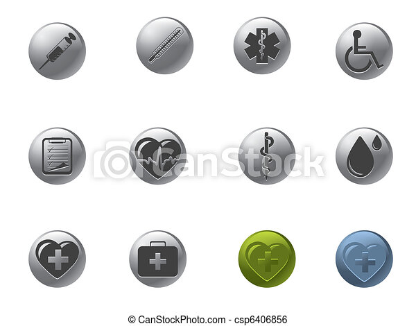 Medical and hospital icons set - csp6406856