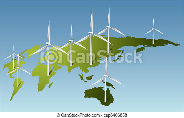 Wind turbines generating electricity on Earth - csp6406858