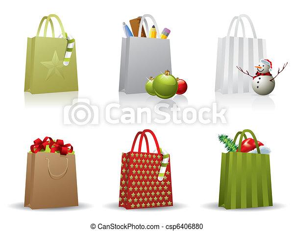 Christmas shopping bag - csp6406880