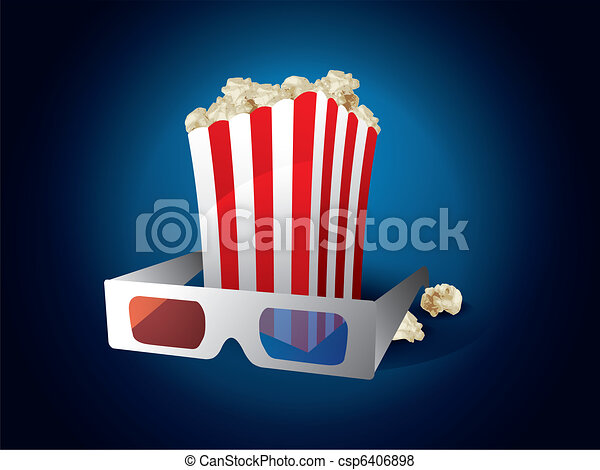3d movie with popcorn - csp6406898