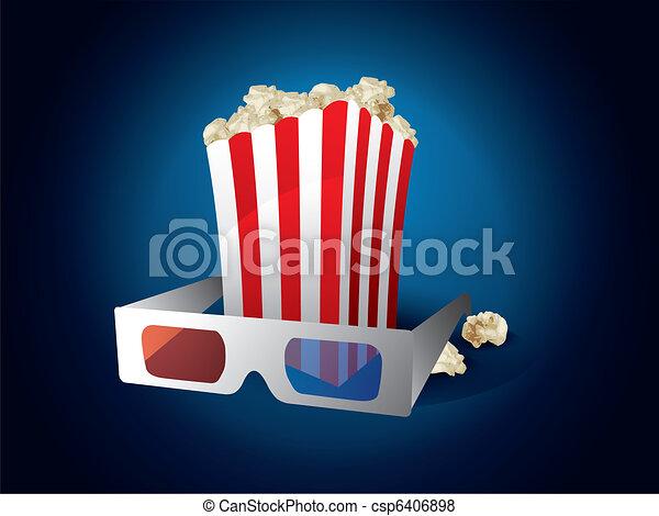 3d movie with popcorn - csp6406898