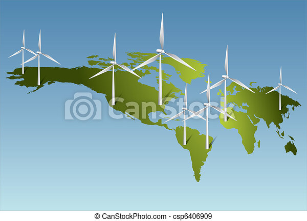 Wind turbines generating electricity on Earth - csp6406909