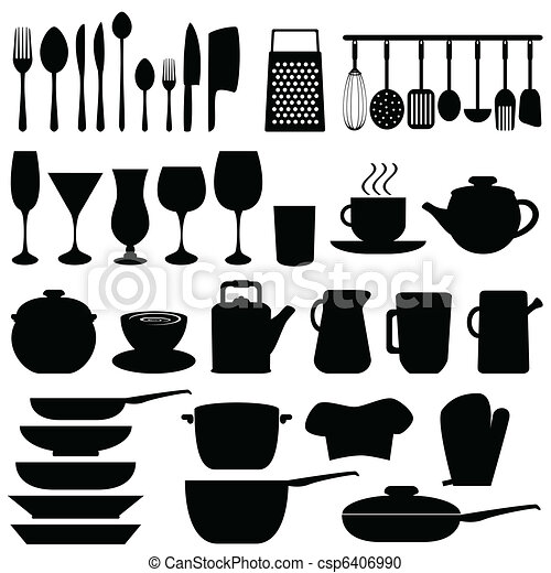 Clipart vecteur de ustensiles objets cuisine kitchen for Lista utensili da cucina