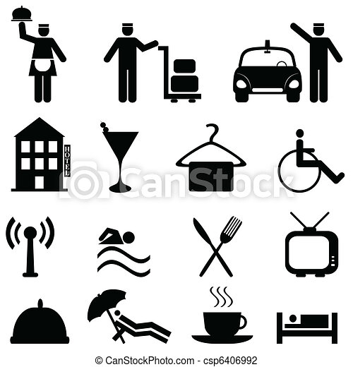 Hotel and hospitality icon set - csp6406992