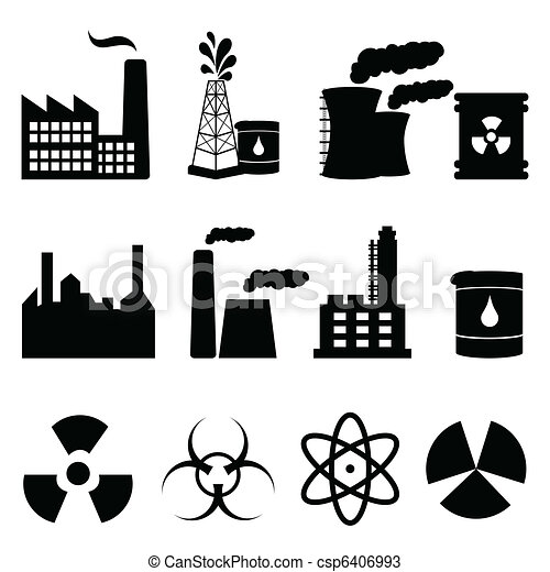Industrial buildings and signs icon set - csp6406993