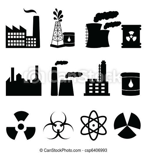 industrial, edificios, señales, icono, Conjunto - csp6406993