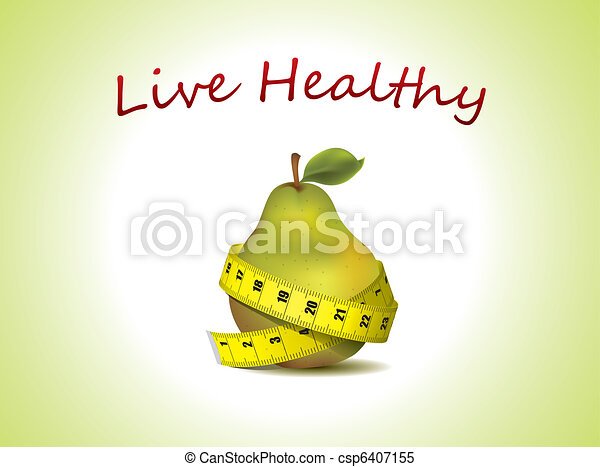 Fresh pear with measuring tape - csp6407155