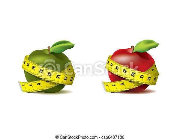 Fresh apples with measuring tape - csp6407180