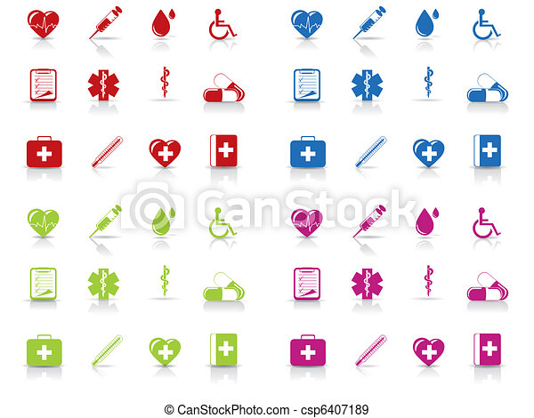 Medical and hospital icons set - csp6407189